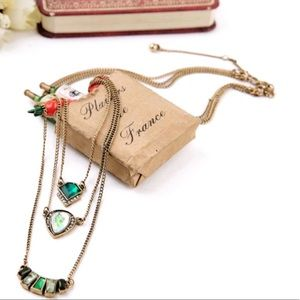 Jewelry - NEW Layers Necklace Green Gold
